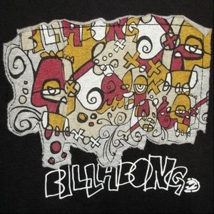 BILLABONG black graphic patch T-Shirt S